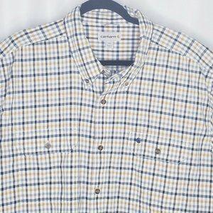Carhartt Mens Shirt Size 2XL Tan Gray White Plaid